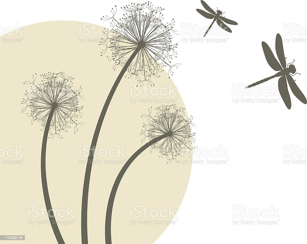 Dandelions and dragonflies vector art illustration