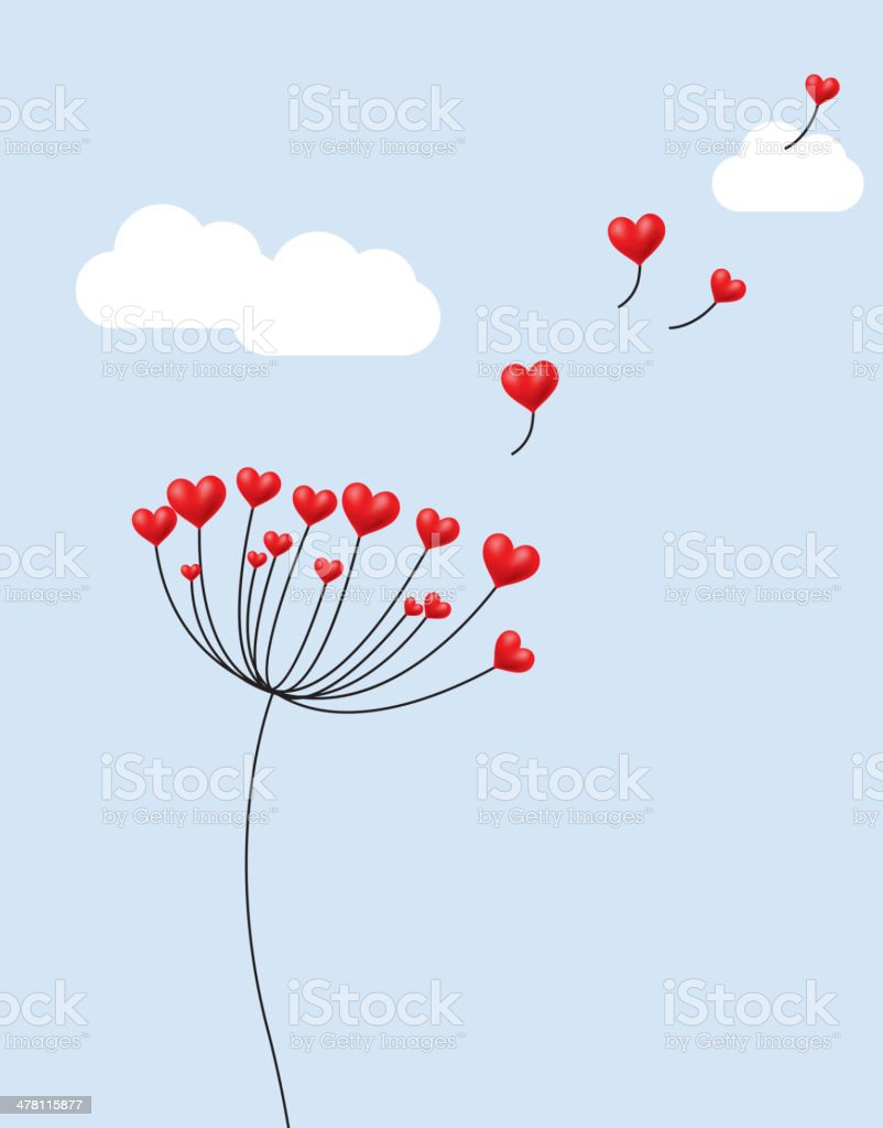 Dandelion's seeds are red heart royalty-free stock vector art