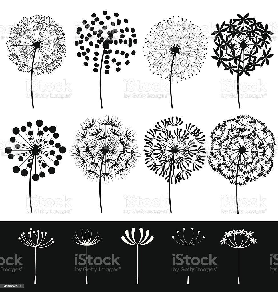 Dandelions set vector vector art illustration