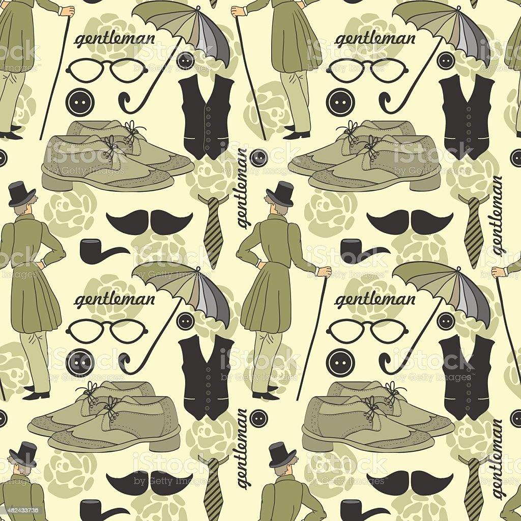 Dandy style beautiful vintage seamless pattern vector art illustration