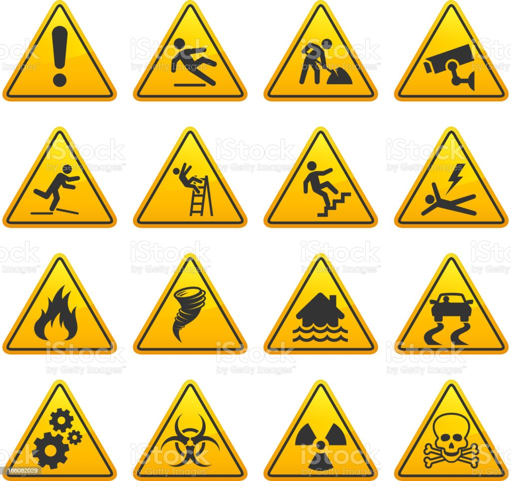 Danger and Caution Street Signs Collection vector art illustration
