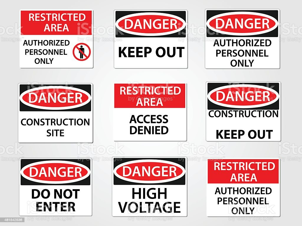 Danger and Restricted Area Workplace Signs Set vector art illustration