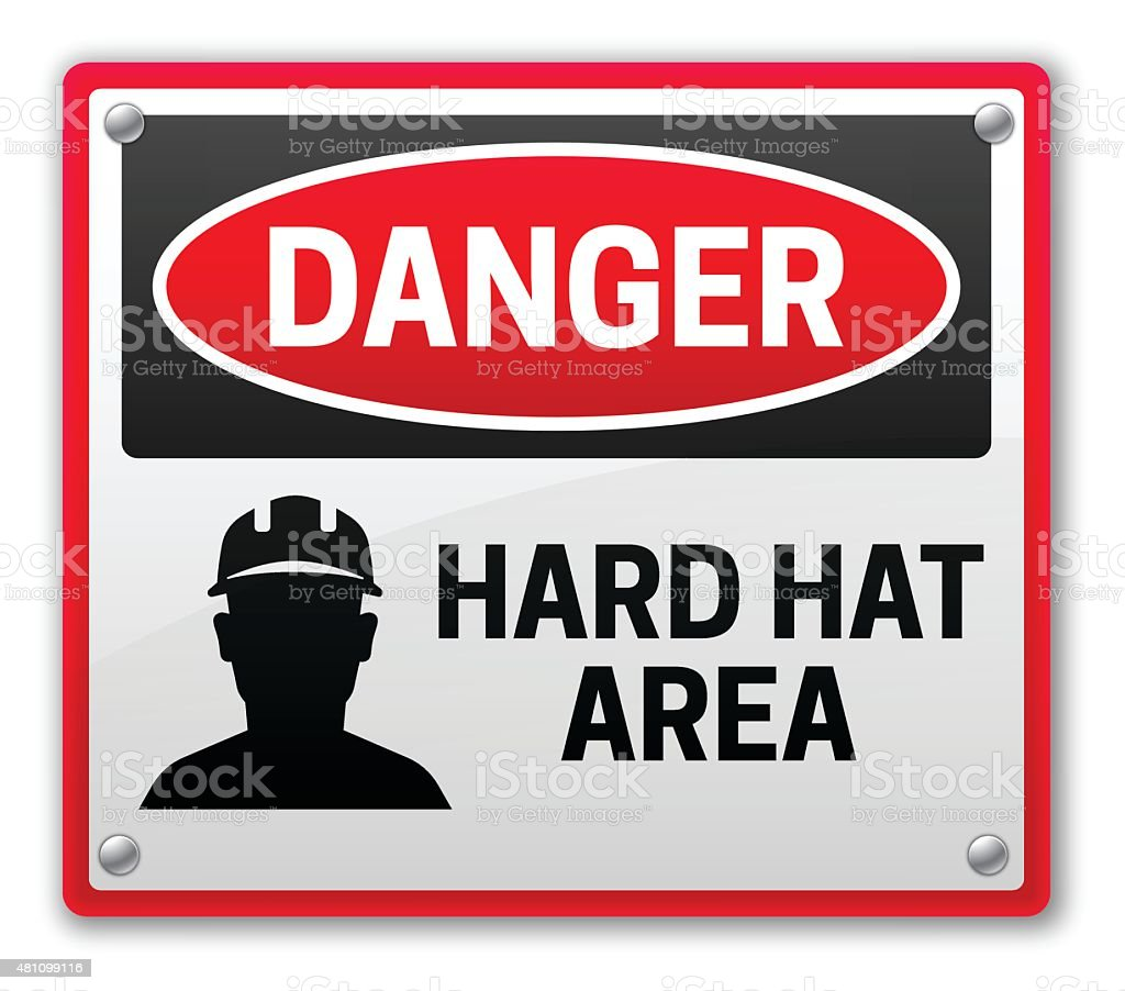 Danger Hard Hat Area Sign vector art illustration