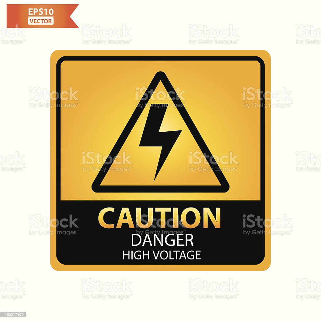 Danger high voltage text and sign. royalty-free stock vector art