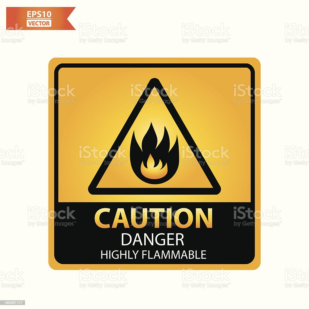 Danger highly flammable text and sign. royalty-free stock vector art