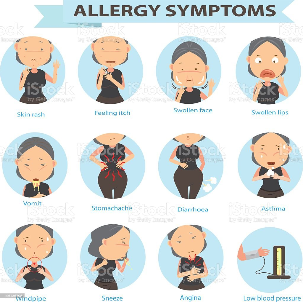 danger of allergies vector art illustration