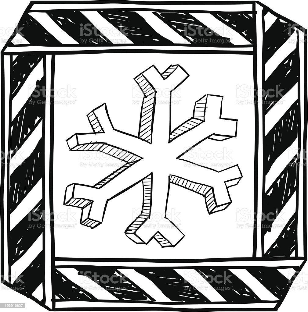 Danger of freezing warning symbol sketch vector art illustration