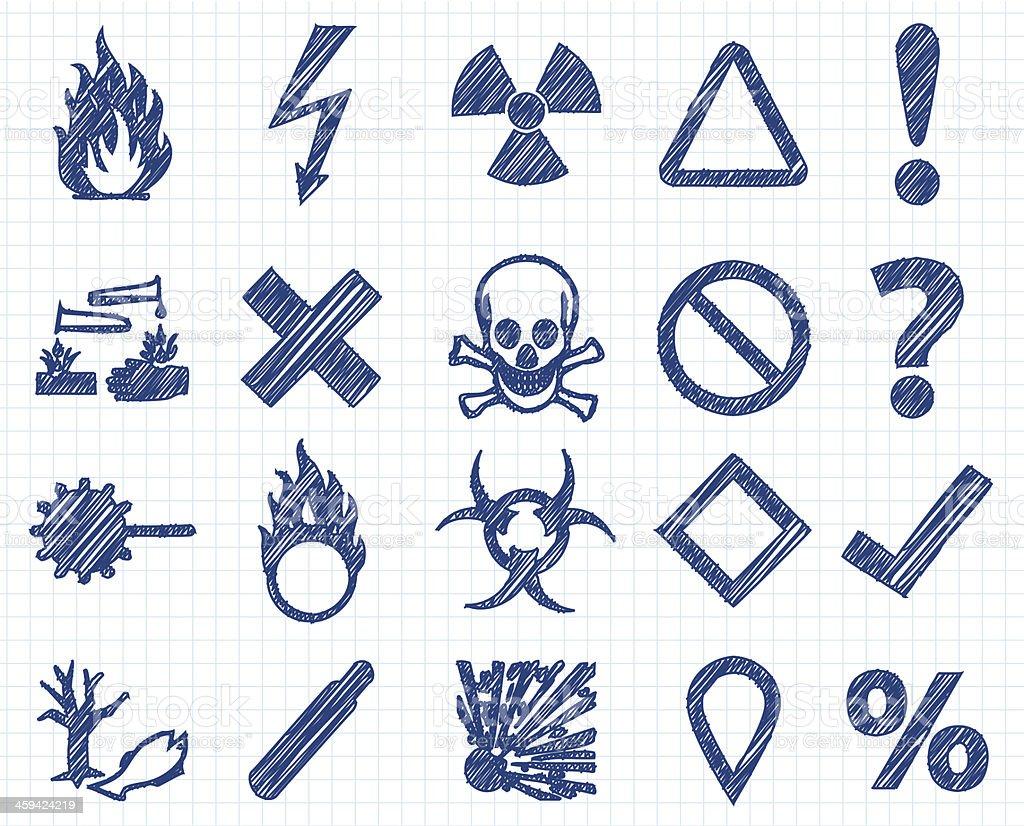 Danger pen style vector art illustration
