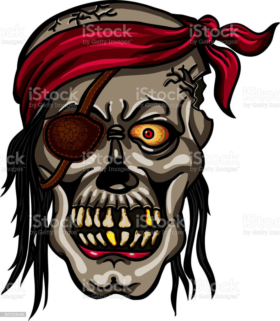 Danger pirate skull in red bandane vector art illustration