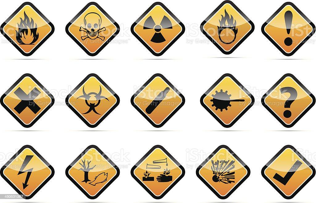 Danger round corner warning sign set royalty-free stock vector art