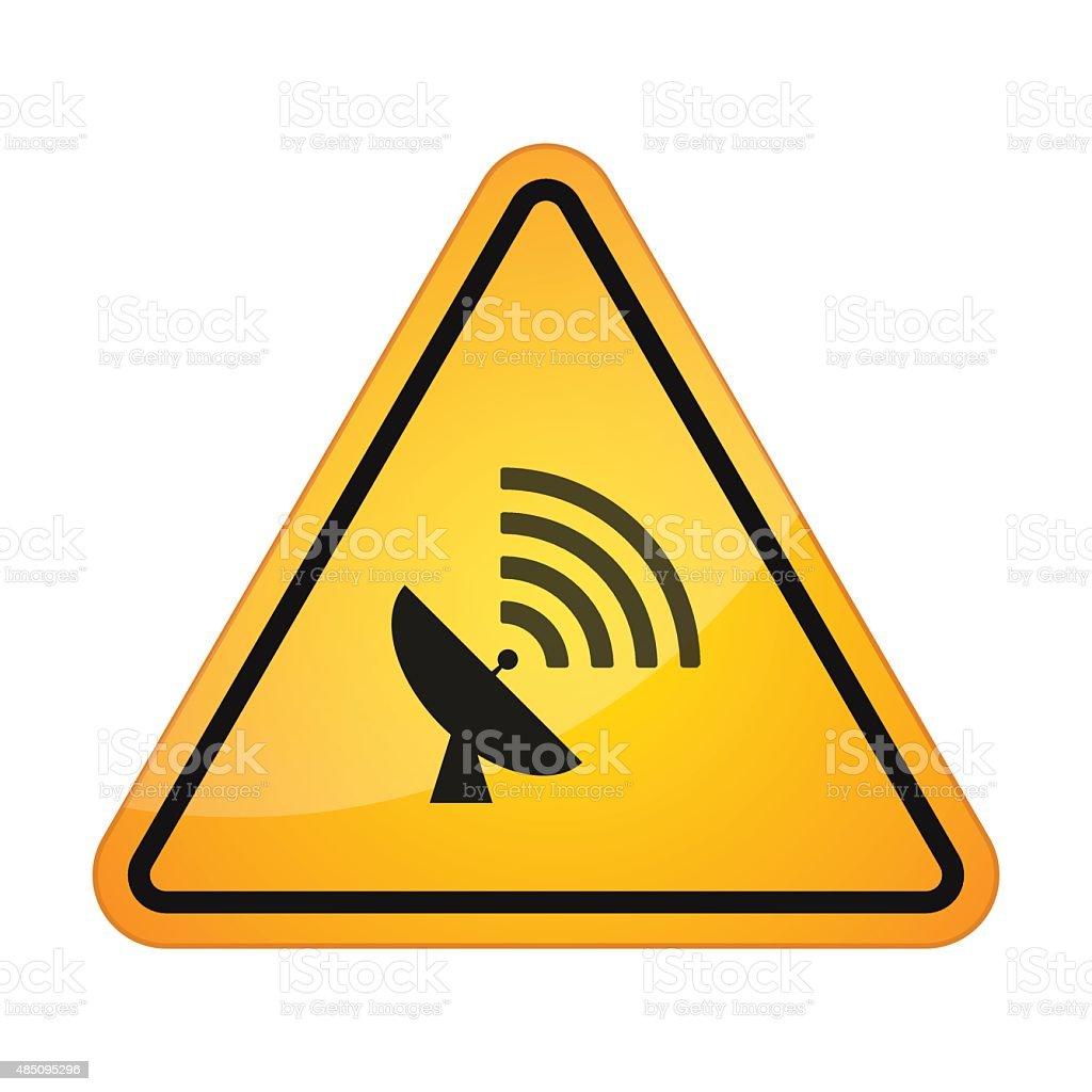 Danger sign with a parabolic antenna vector art illustration