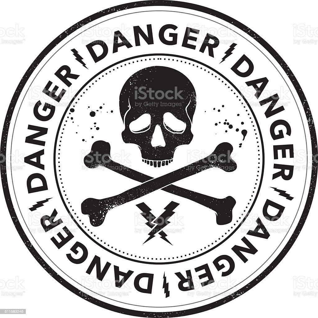 Danger stamp with skull symbol vector art illustration
