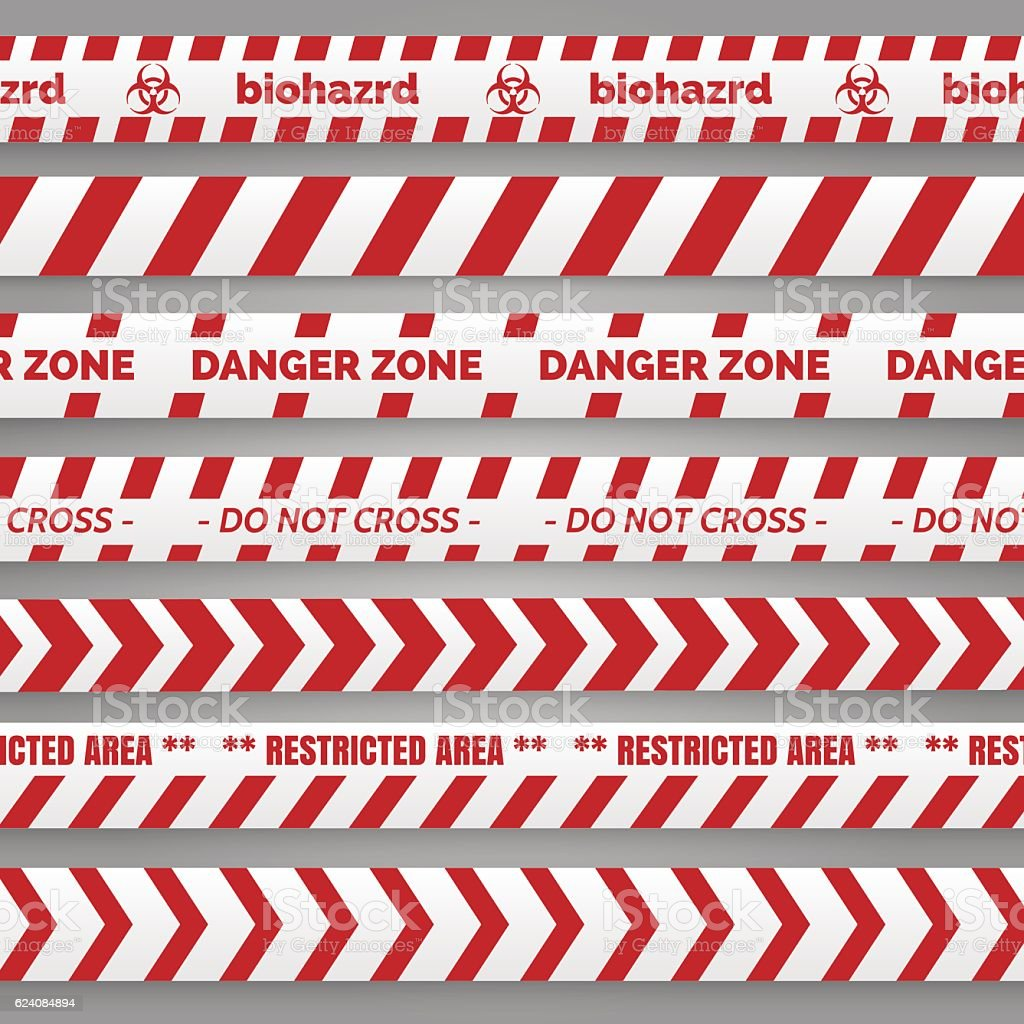 Danger tapes red and white collection vector art illustration