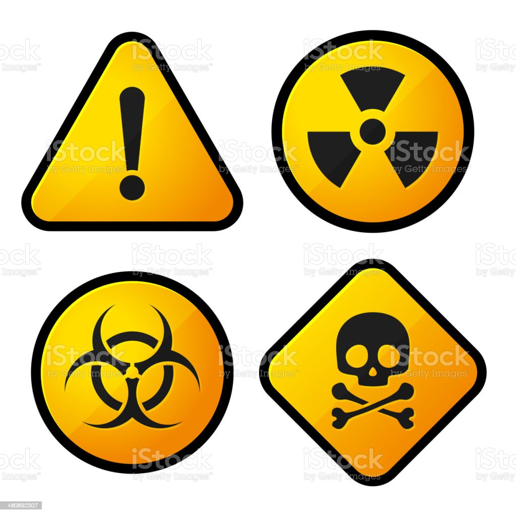Danger Yellow Sign Icons Set royalty-free stock vector art