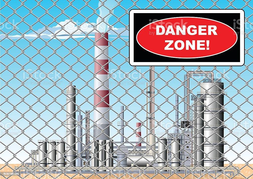 Danger Zone Sign at Oil refinery vector art illustration