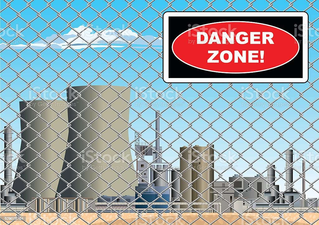 Danger Zone Sign on Nuclear Power Station Grid vector art illustration