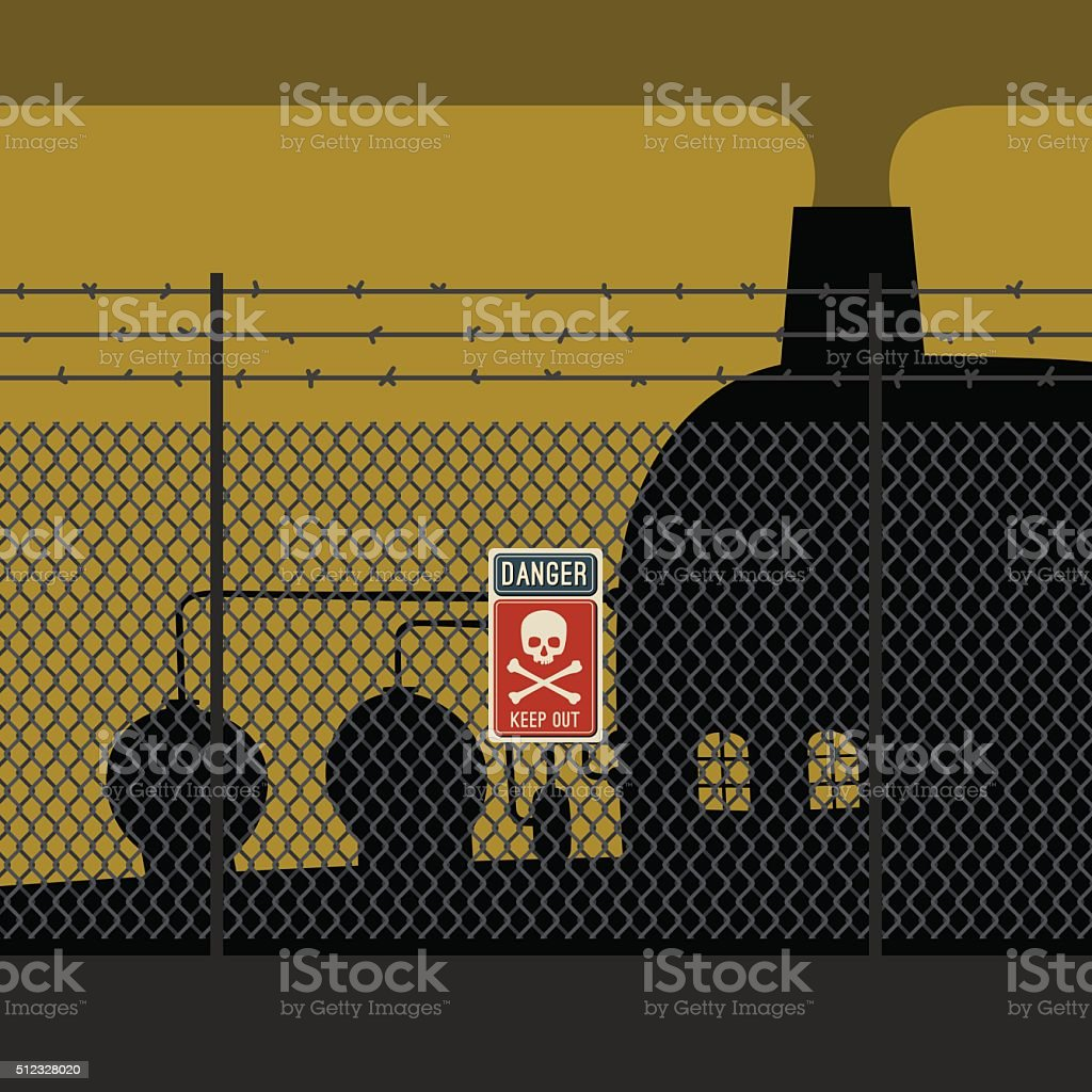 Danger zone with fence and factory. vector art illustration
