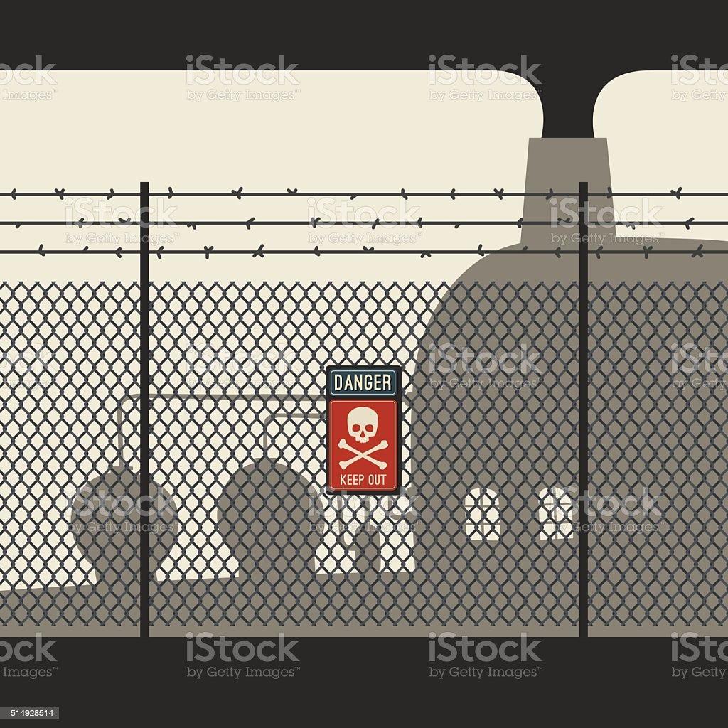 Danger zone with fence vector art illustration