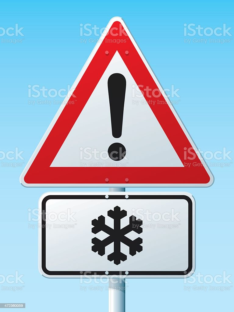 Dangerous Area Risk Of Ice German Warning Sign royalty-free stock vector art