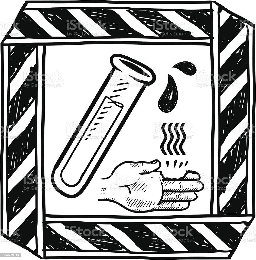 Dangerous chemical warning sign sketch vector art illustration