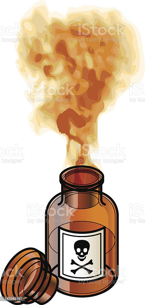 Dangerous fumes coming out of bottle with danger sign vector art illustration