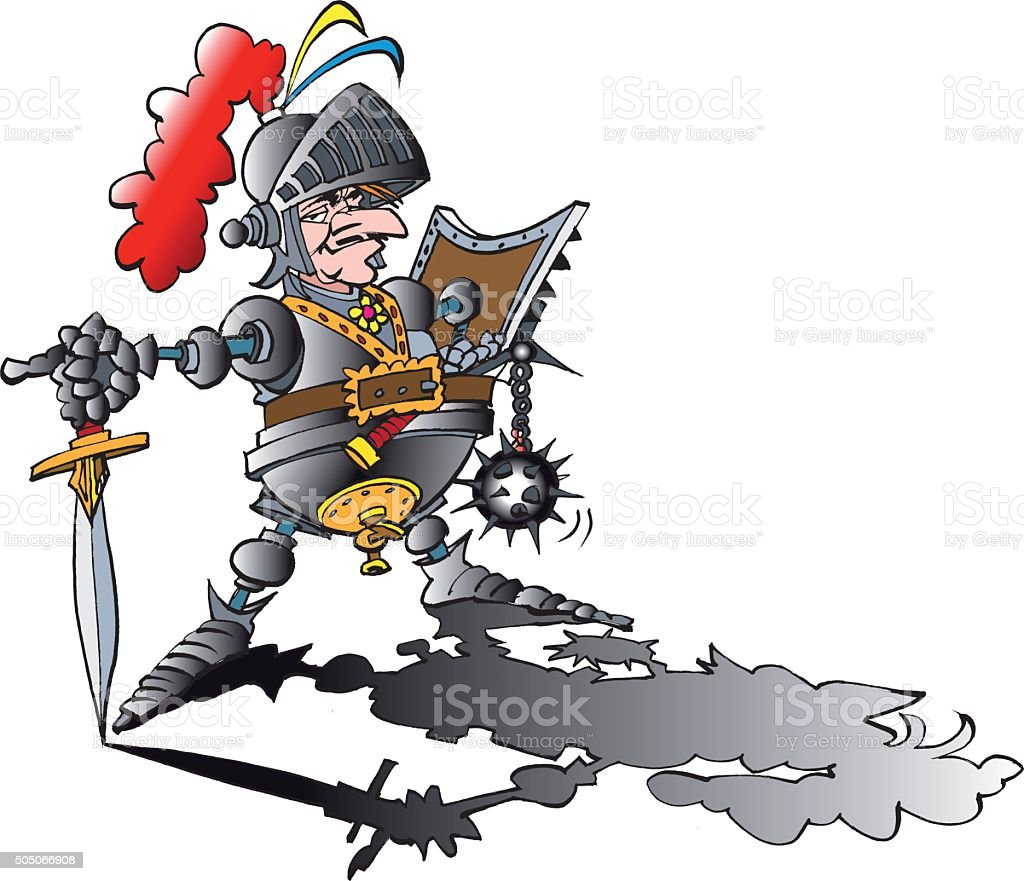 Dangerous proud Knight with armour vector art illustration