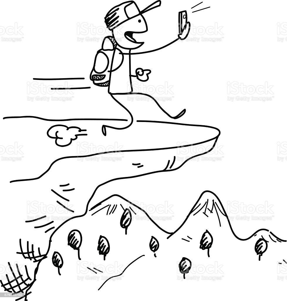 Dangerous Smartphone Distraction and Addiction vector art illustration