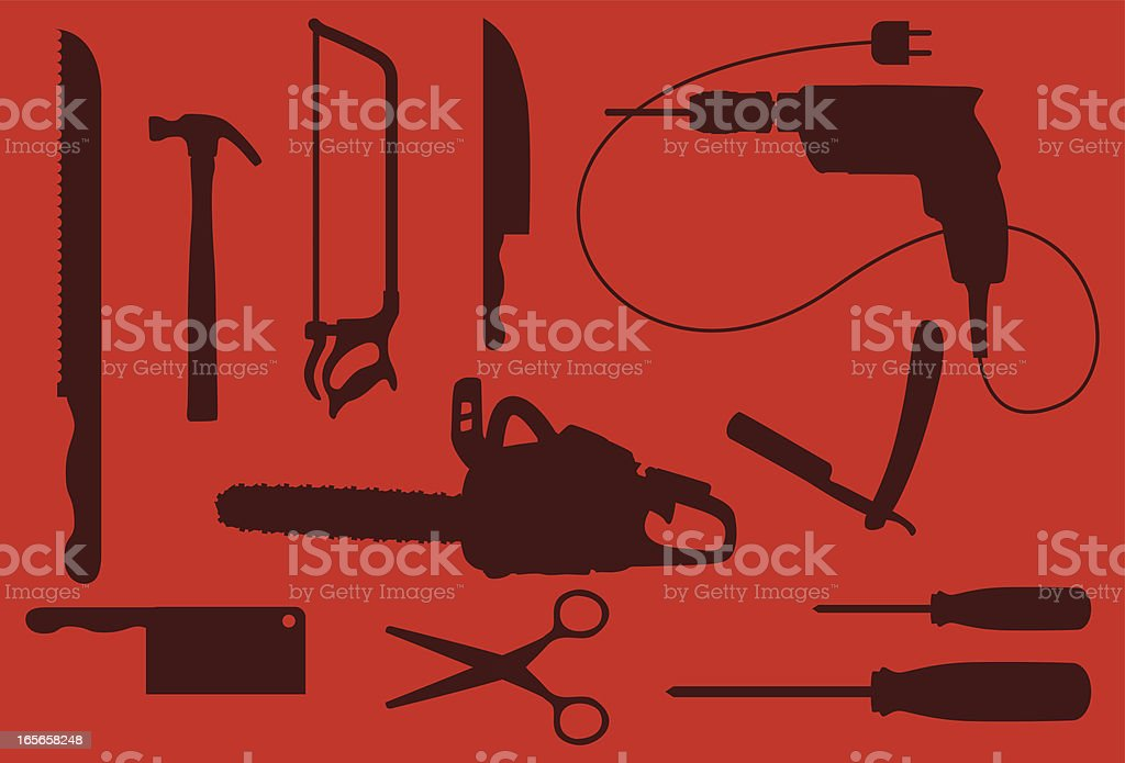 Dangerous working tools silouhettes royalty-free stock vector art