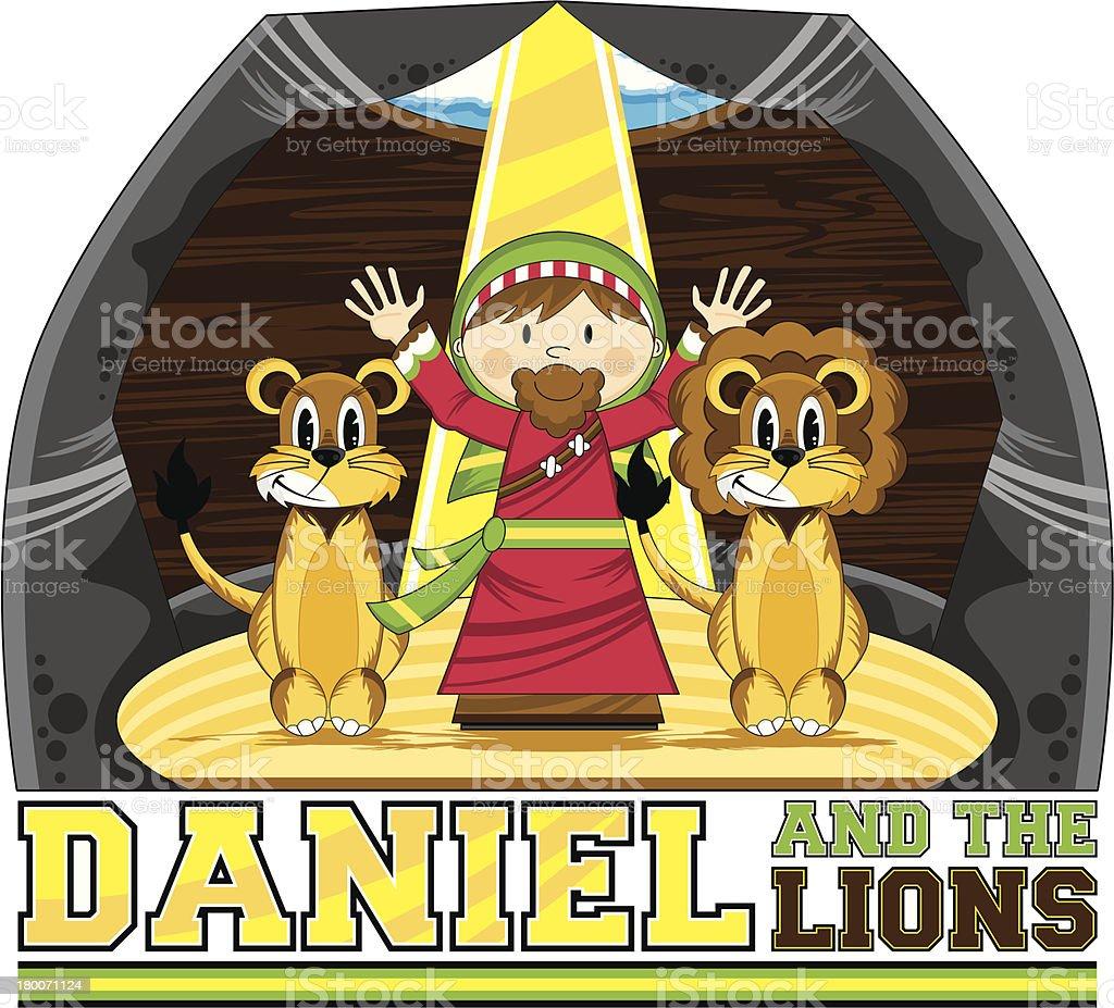 Daniel & the Lions Bible Illustration royalty-free stock vector art