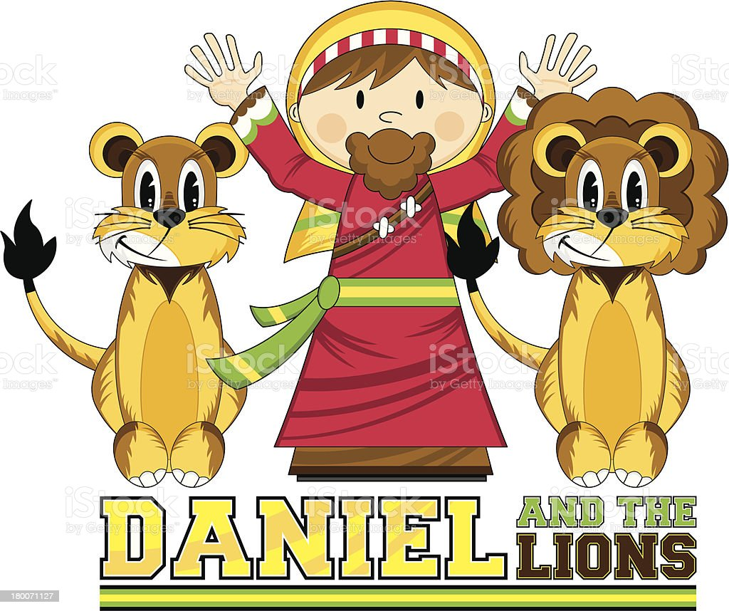 Daniel & the Lions Bible Illustration royalty-free stock vector art