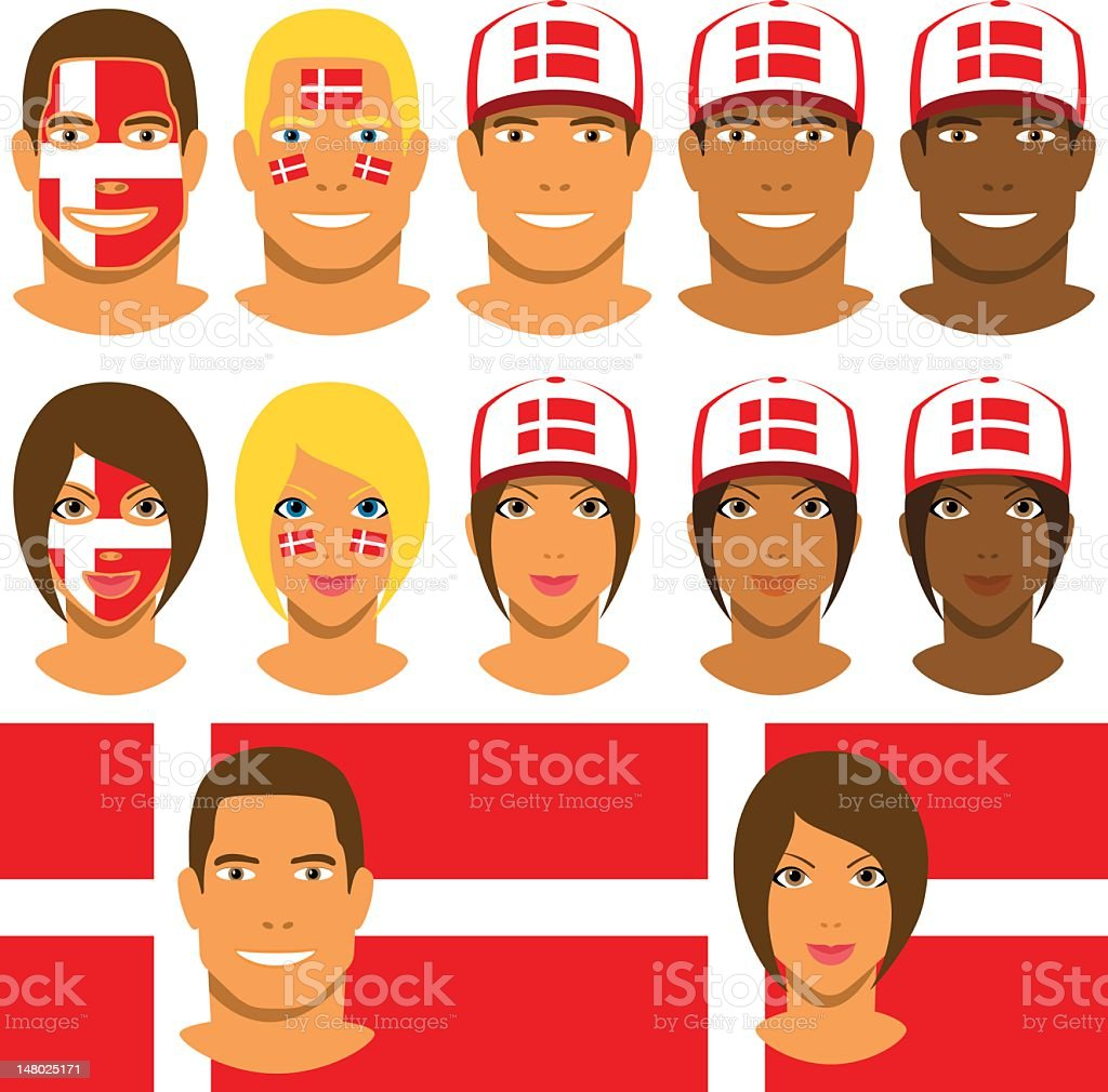 Danish fans, patriot with flag of Denmark stock photo