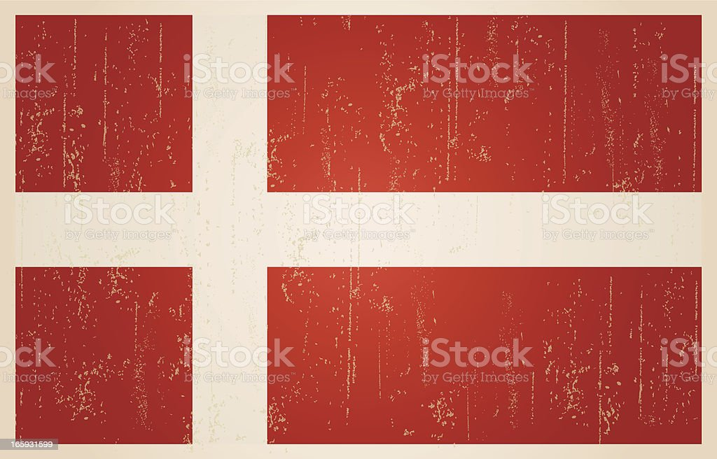 Danish flag in grunge and vintage style. royalty-free stock vector art