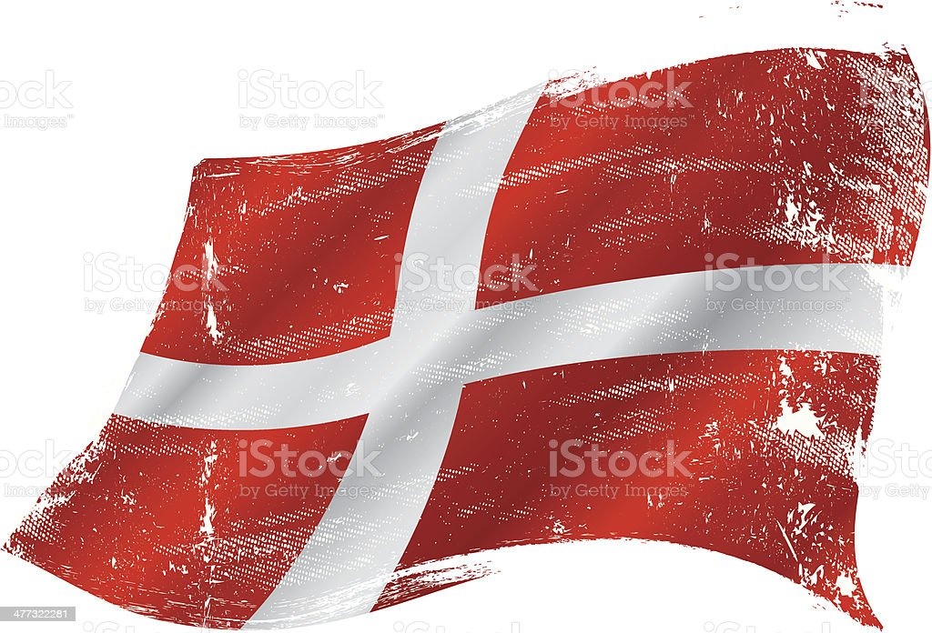 danish grunge flag vector art illustration