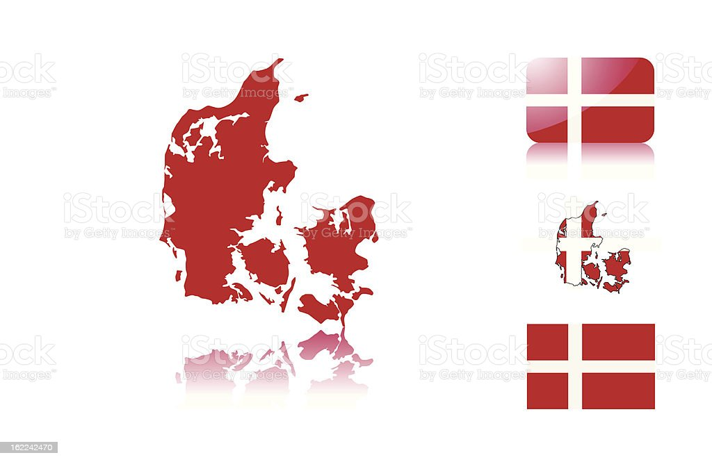 Danish map and flags vector art illustration
