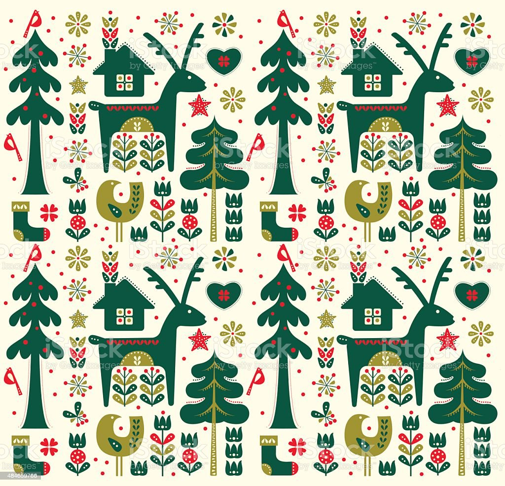 Danish Style Christmas Seamless Pattern vector art illustration