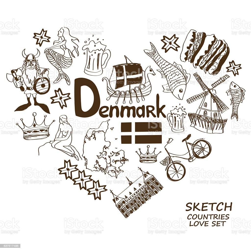 Danish symbols in heart shape concept vector art illustration