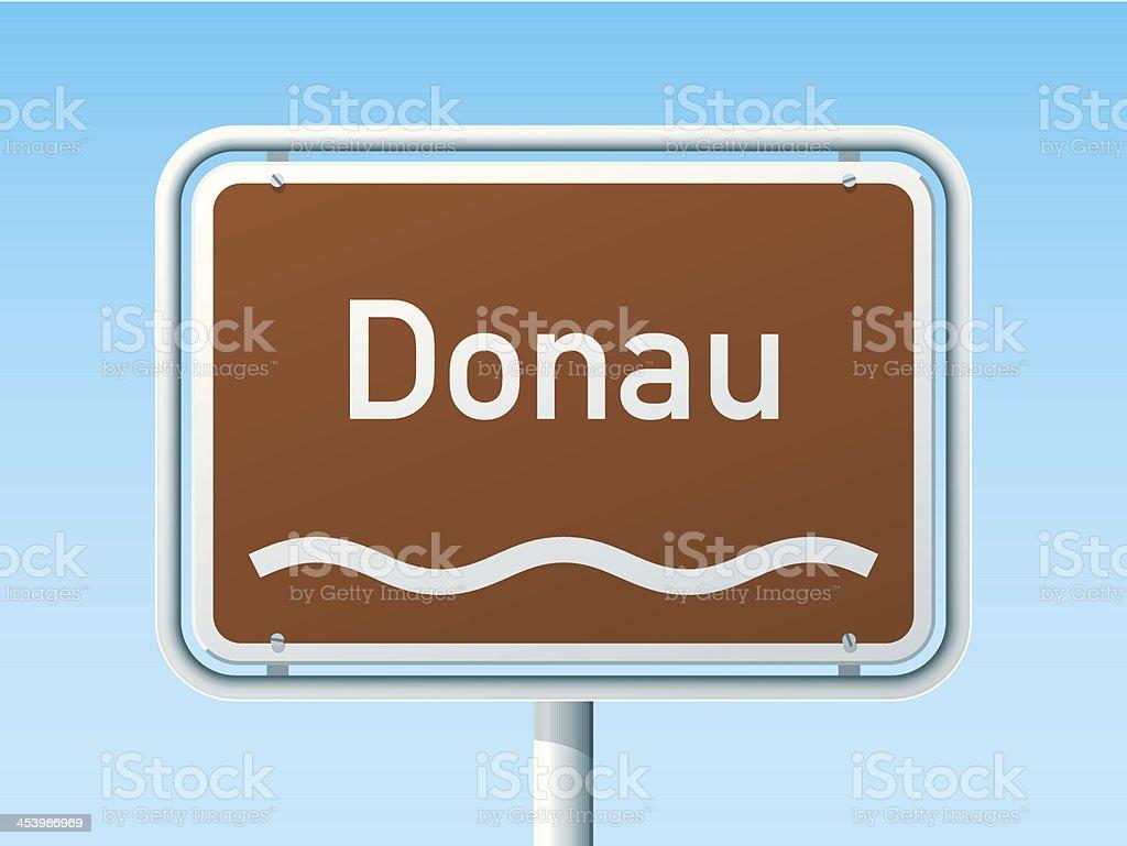 Danube River German Road Sign vector art illustration