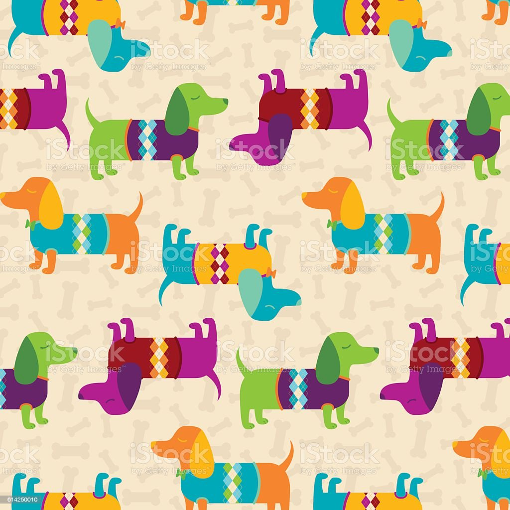 Dapper Dachshunds Pattern vector art illustration