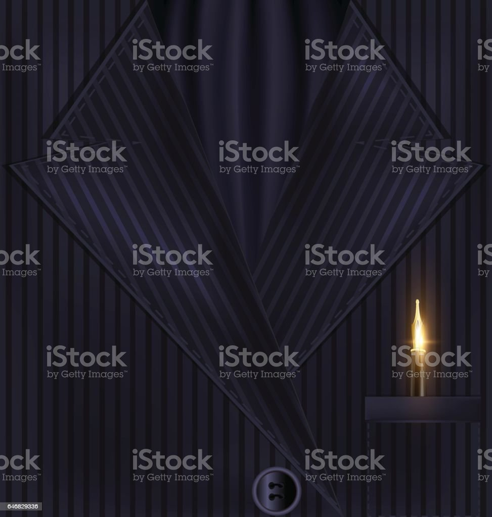 dark background suit and golden pen vector art illustration