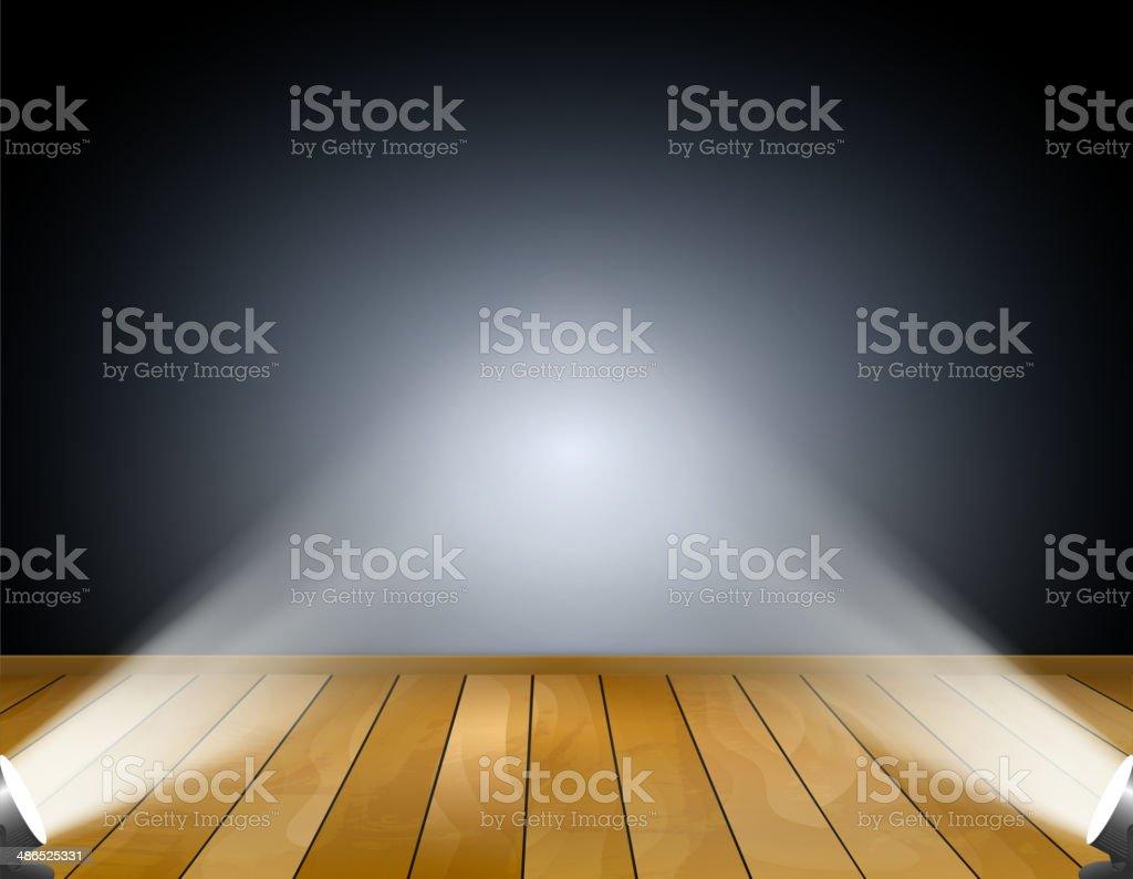 Dark background with spotlights or projection lamps. Studio with wooden floor vector art illustration