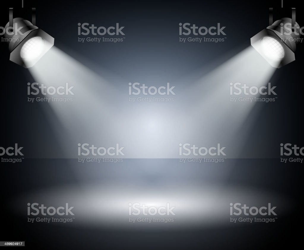 Dark background with spotlights. Studio. vector art illustration