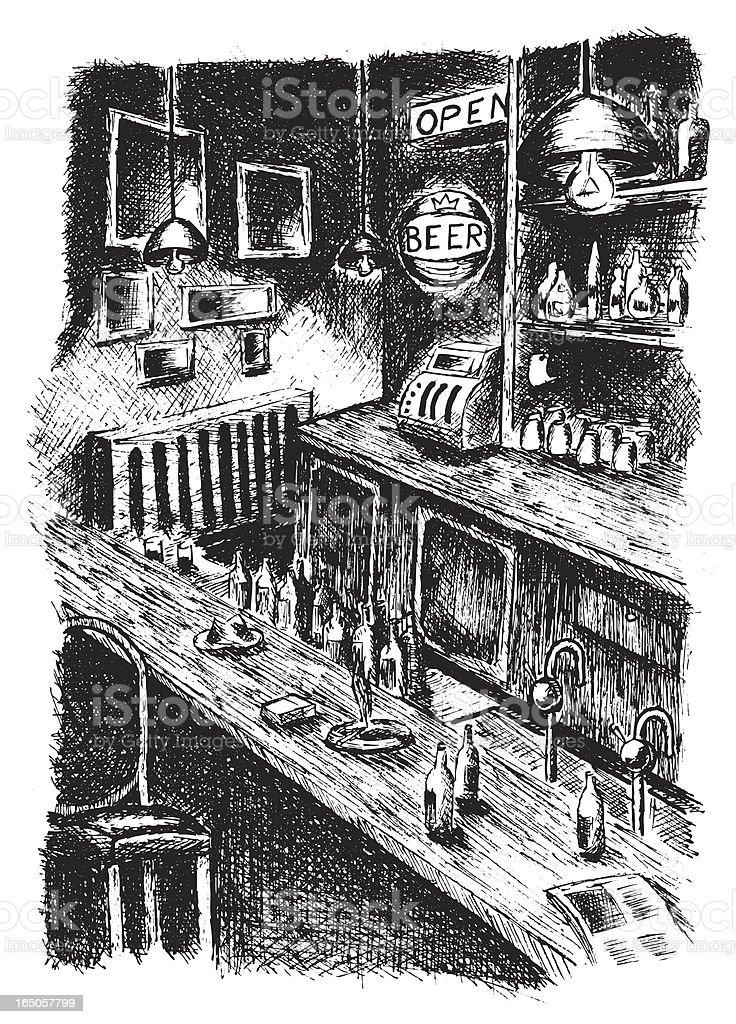 Dark Bar Setting with Bottles and Cigarettes vector art illustration