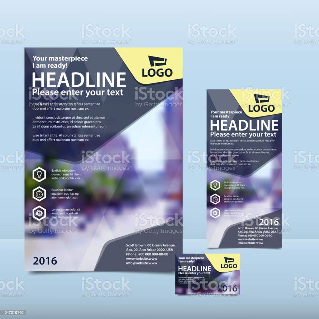 Dark blue annual report with brochure, flyer and business card vector art illustration