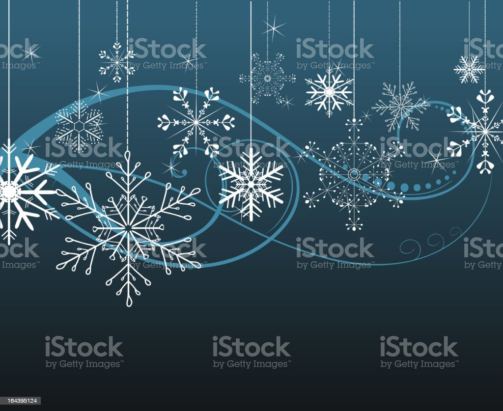 Dark blue background with snowflakes royalty-free stock vector art