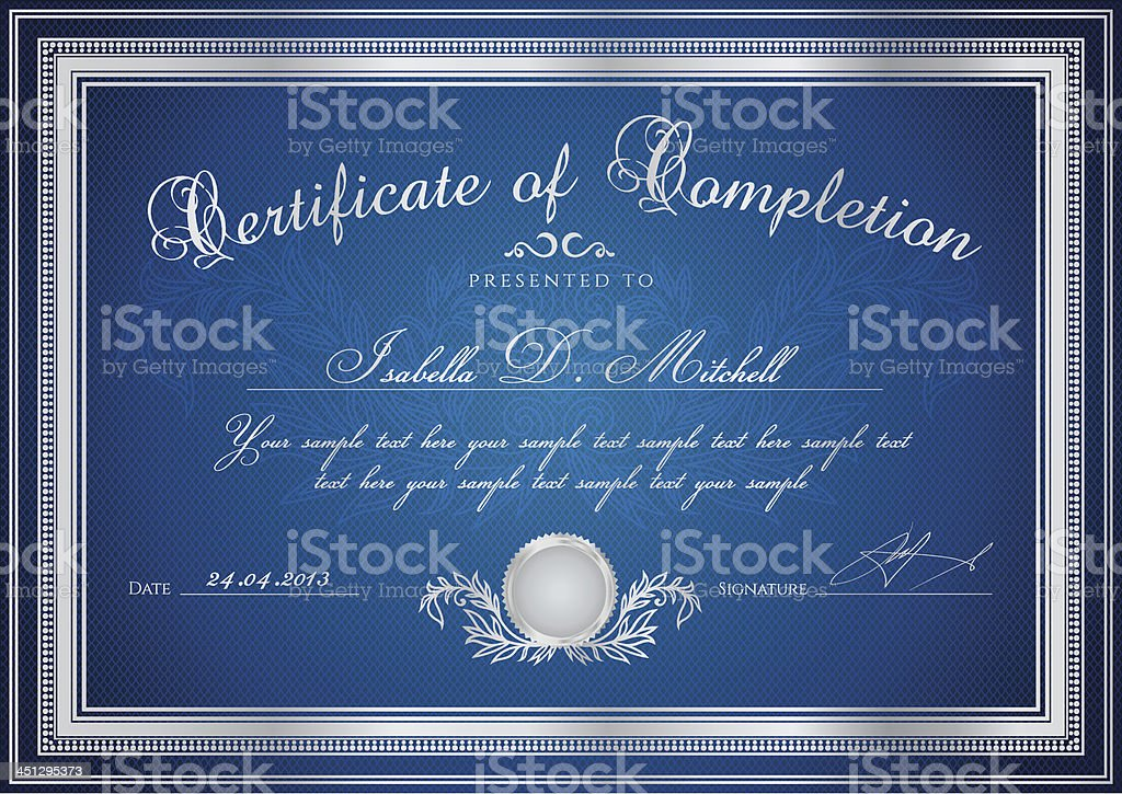 Dark Blue Certificate / Diploma / Coupon (template). Award background (pattern, frame) royalty-free stock vector art
