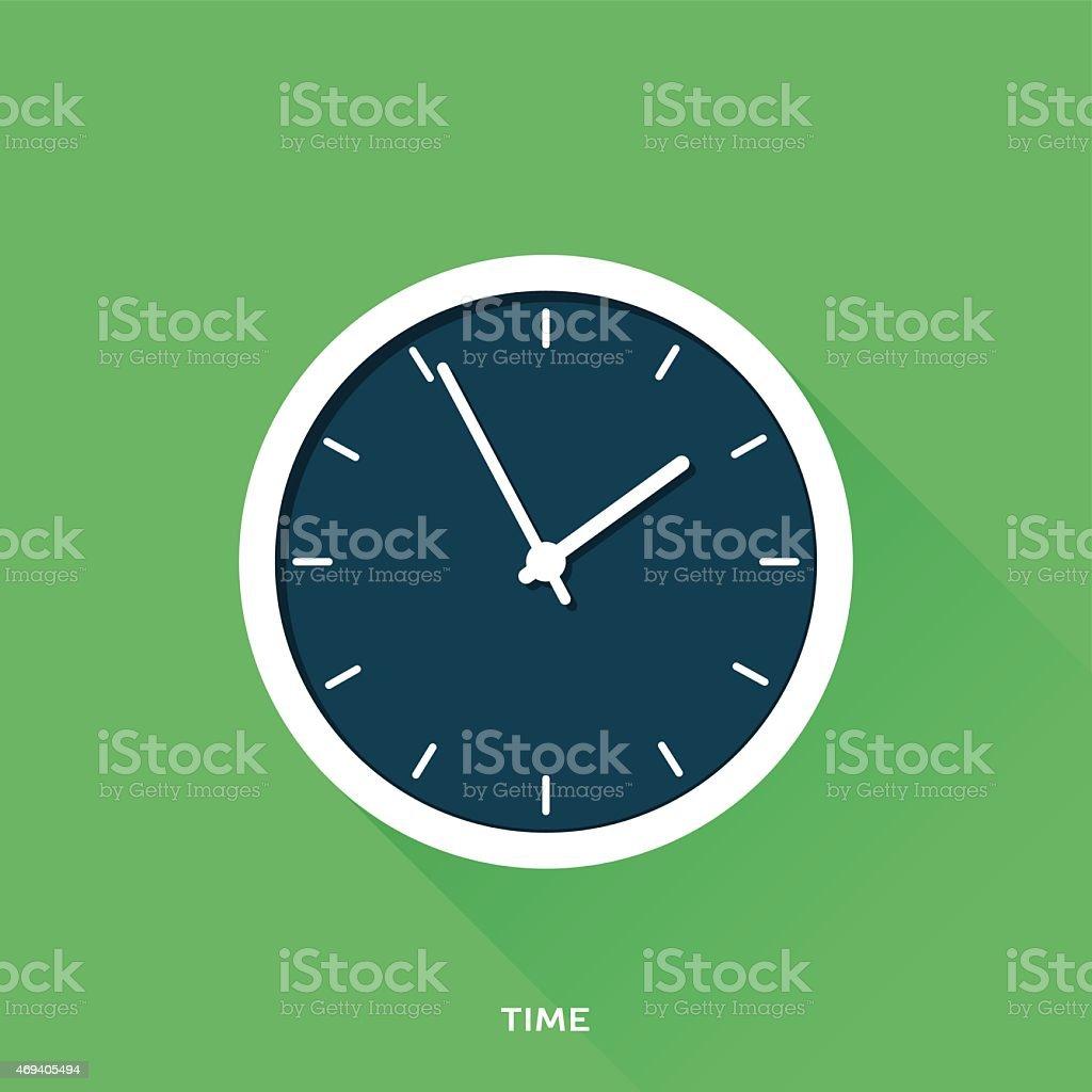 Dark blue numberless clock face on green background vector art illustration