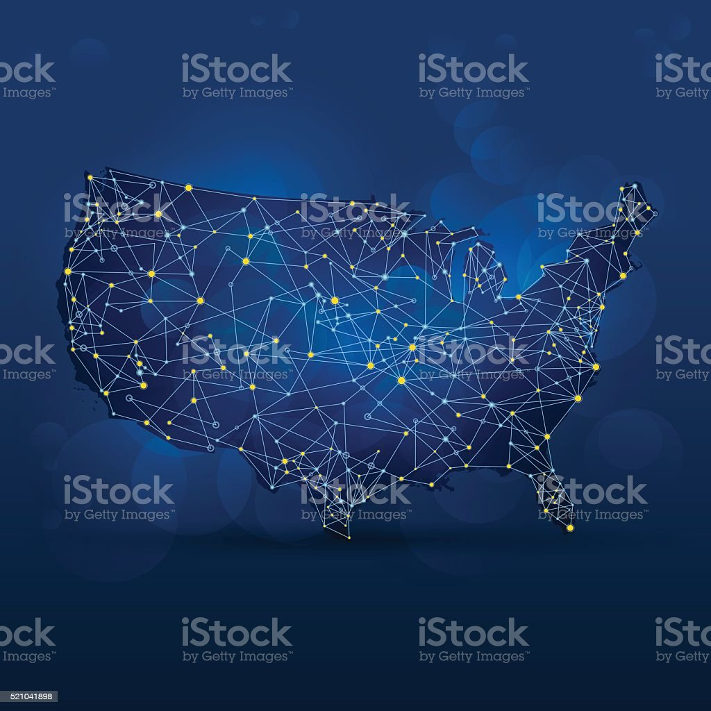 Dark blue USA map with dots and connections vector art illustration