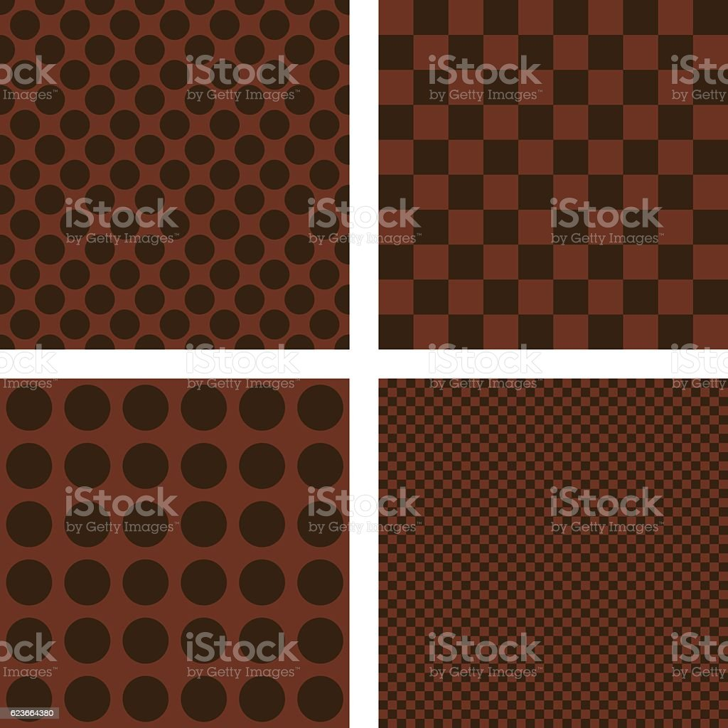 Dark brown geometric shape wallpaper set vector art illustration
