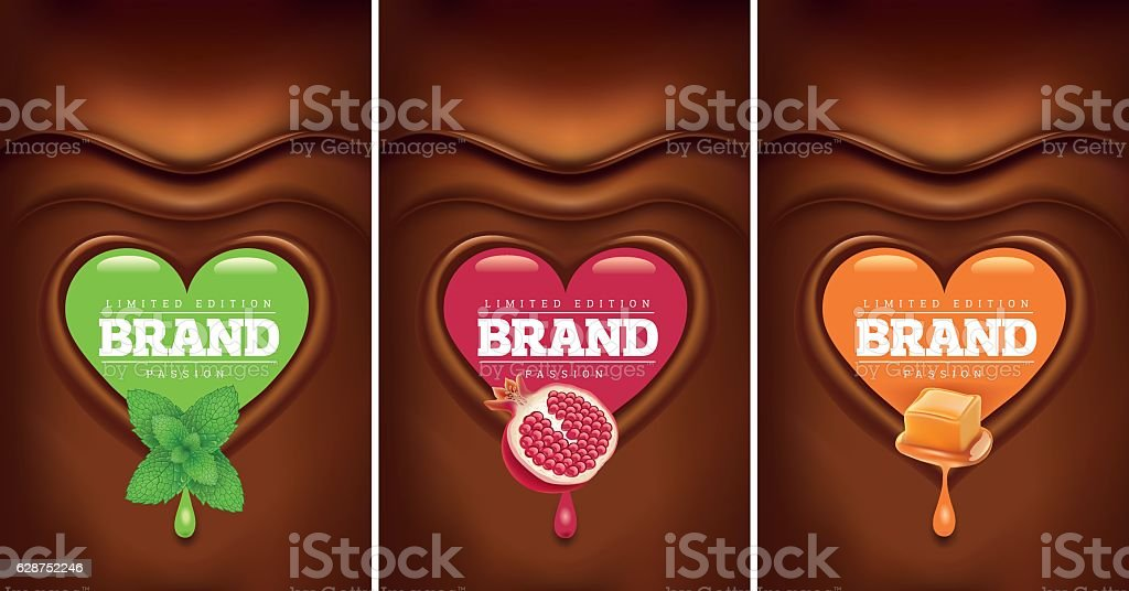 dark chocolate heart with mint, pomegranate, caramel vector art illustration