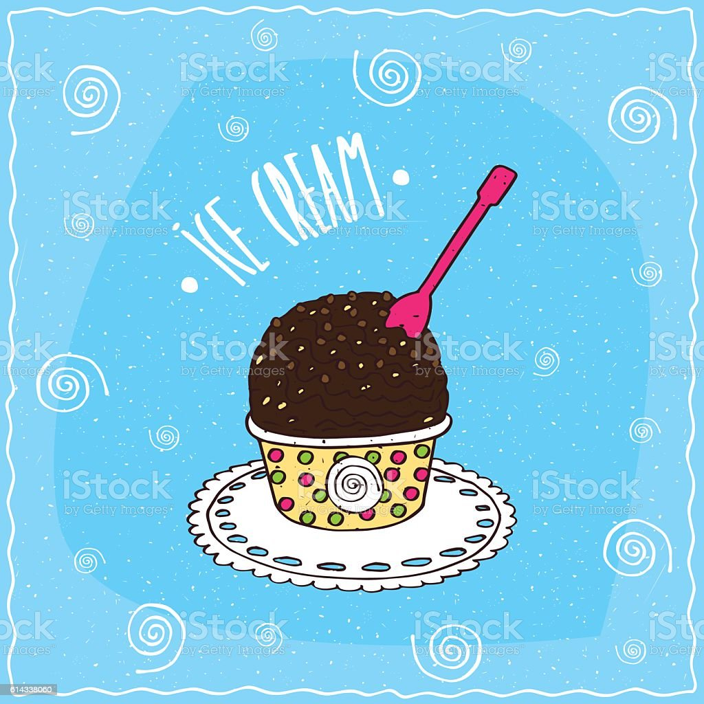 Dark chocolate scoop of ice cream in cup vector art illustration